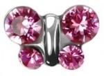 """Серьги """"Бабочки"""", розовое стекло, в картридже, сталь"""