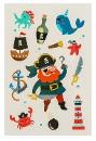 """Наклейки-переводные тату """"Пиратская вечеринка"""", 14 х 24 см"""