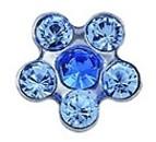 """Серьги """"Цветок"""", синее-голубое стекло, в картридже, сталь"""